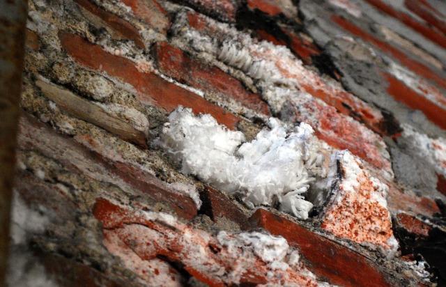 Tonnevis med salt ble benyttet i celluloseproduksjonen på Klevfos. De finner i dag veien inn i murverk og sørger for sterk forvuitring av anlegget.